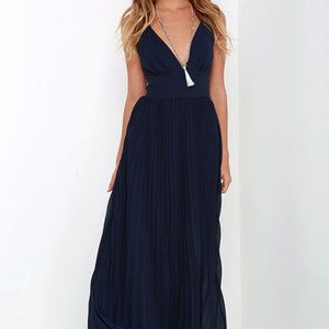 Depths of My Love Navy Blue Pleated Maxi Dress NWT Size Small